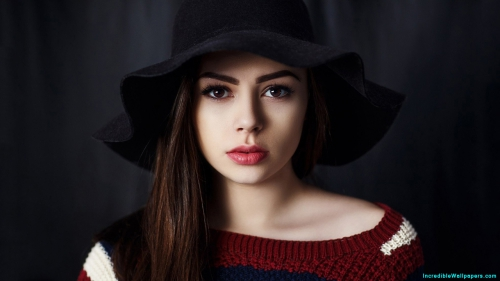 Red Lips, Beautiful Girl, Beautiful, Cute, Pretty, Innocent, Shy, Girl, Women, Model, Brunette,Red Lips, Beautiful Girl, Cute Girl, Beautiful, Cute, Pretty, Innocent, Shy, Girl, Women, Brunette, Model, Makeup, Face Makeup, Makeup Model, Makeup Girl, Fashion, Dress, Winter, Sweater, Hat, Style, Dark, Gray, Background, Indoor, Face Closeup, Photo Shoot, Girl Wallpaper, Latest, HD, Wallpaper, Download, IC1227